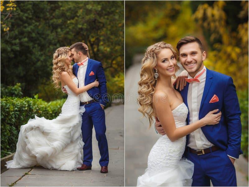 婚礼拼贴画-新娘和新郎在公园 免版税图库摄影