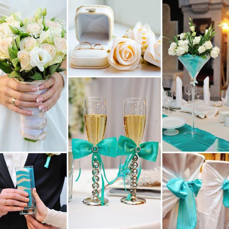 婚礼拼贴画生动描述在绿松石,蓝色颜色的装饰 免版税库存图片
