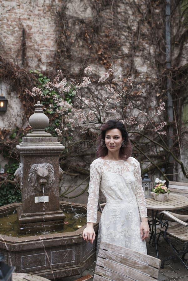 婚礼摄影射击 走在布鲁基的新娘 在喷泉附近的立场 免版税库存照片