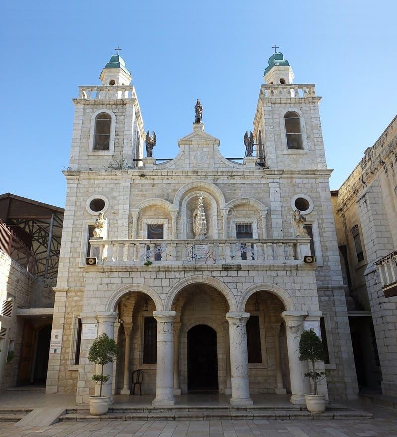 婚礼教会的门面在内盖夫加利利的卡纳 免版税库存照片