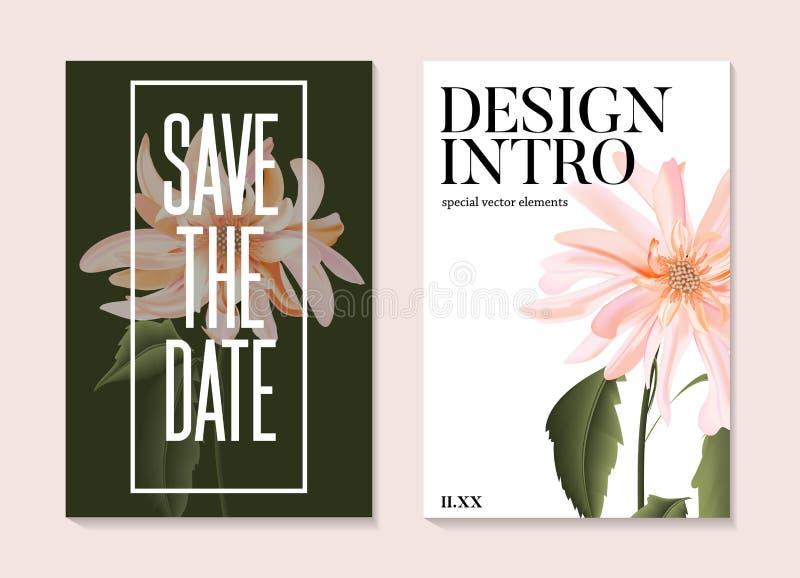 婚礼文本邀请下柔嫩的花朵绽放 柔软的玫瑰水彩花卉艺术节省了约会卡,问候设计, 向量例证