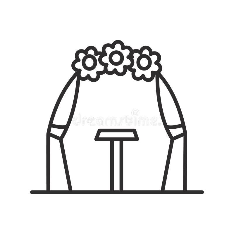 婚礼曲拱传染媒介线象,标志,在背景,编辑可能的冲程的例证 皇族释放例证