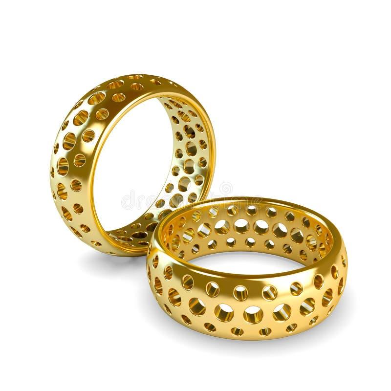 婚礼查出的金戒指 皇族释放例证