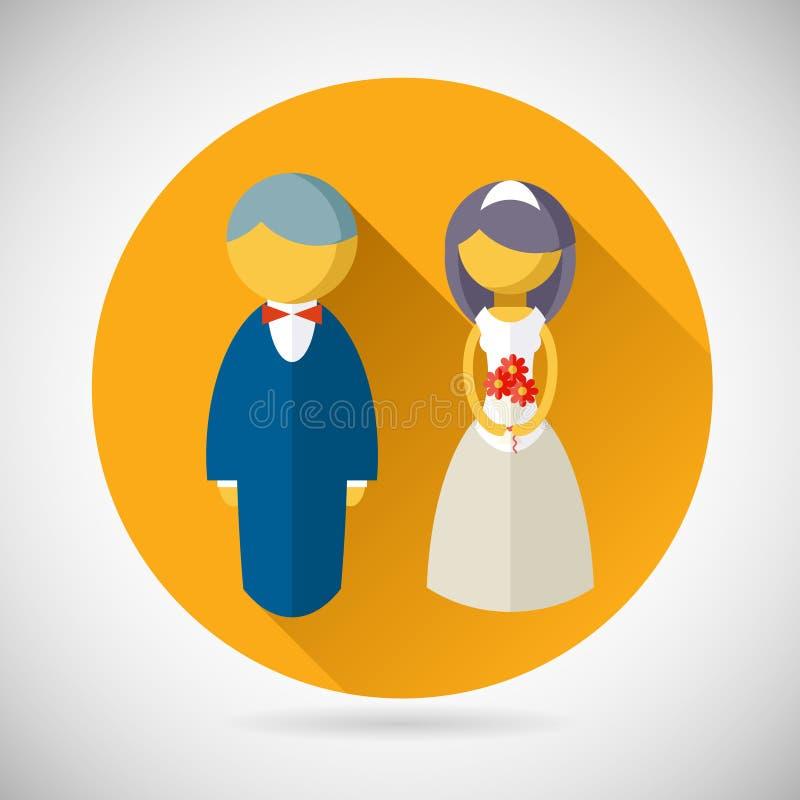 婚礼标志新娘和新郎婚姻象 皇族释放例证