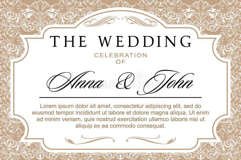 婚礼横幅或邀请在巴洛克式的样式 皇族释放例证