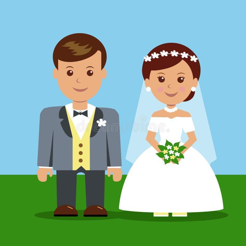 婚礼漫画人物 库存例证