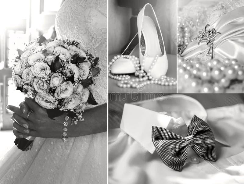 婚礼照片拼贴画,时尚,秀丽 免版税库存照片