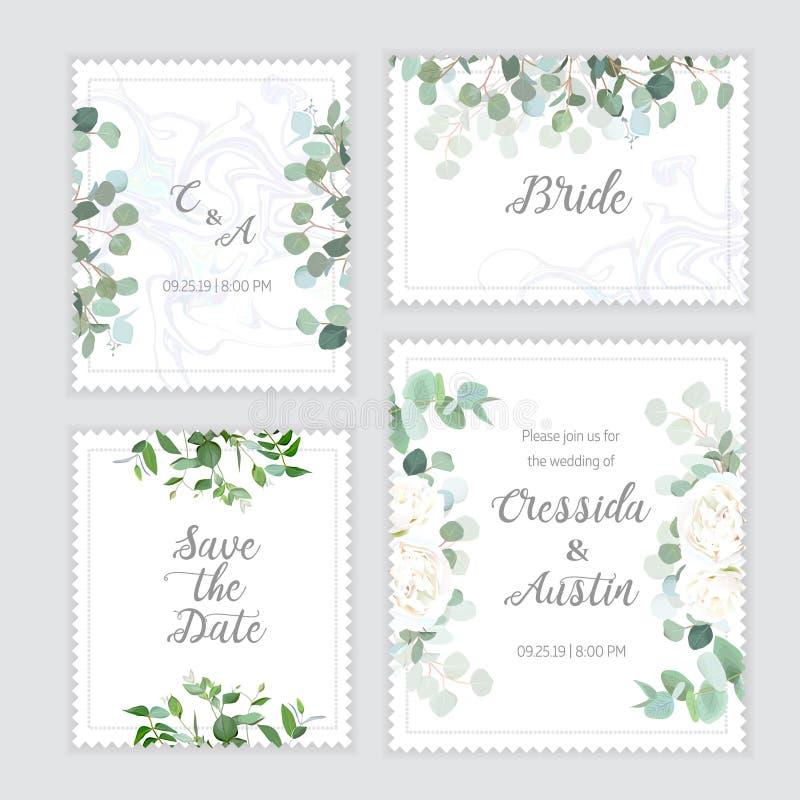 婚礼玉树,玫瑰色方形的传染媒介设计横幅框架 向量例证