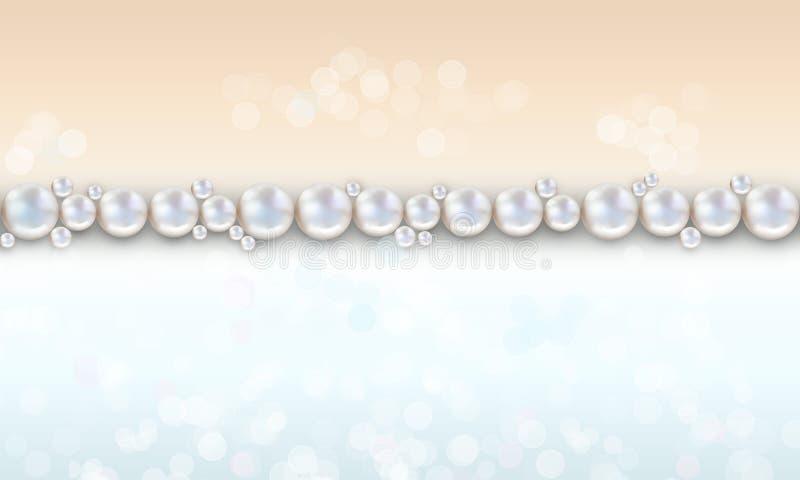 婚礼珍珠背景成珠状用桃子和蓝色颜色 向量例证