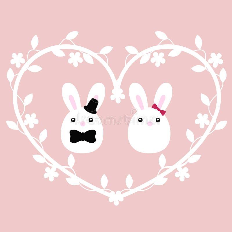 婚礼的逗人喜爱的海报与一个对兔宝宝男孩和女孩 库存例证