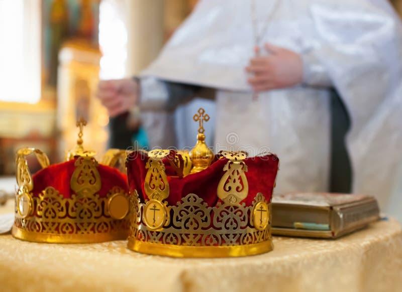 婚礼的仪式在俄罗斯正教会的 库存照片