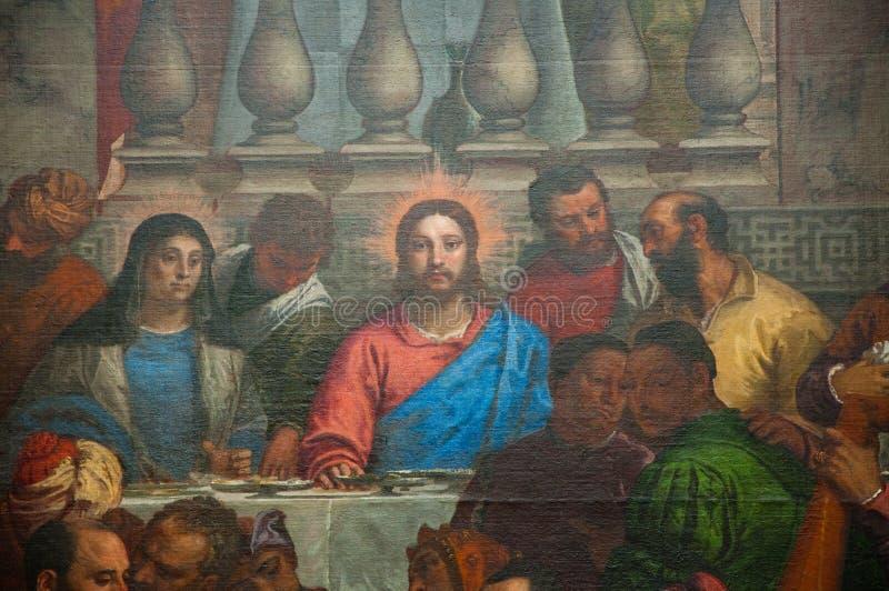 婚礼的细节在Cana的MusA©ee的du Louvre保罗・委罗内塞 巴黎 免版税图库摄影