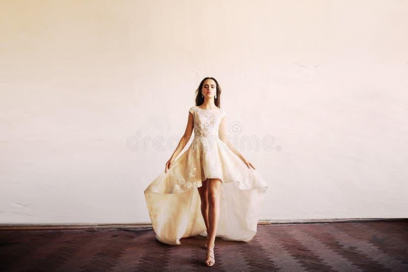 婚礼礼服的新娘在豪华研究 库存照片