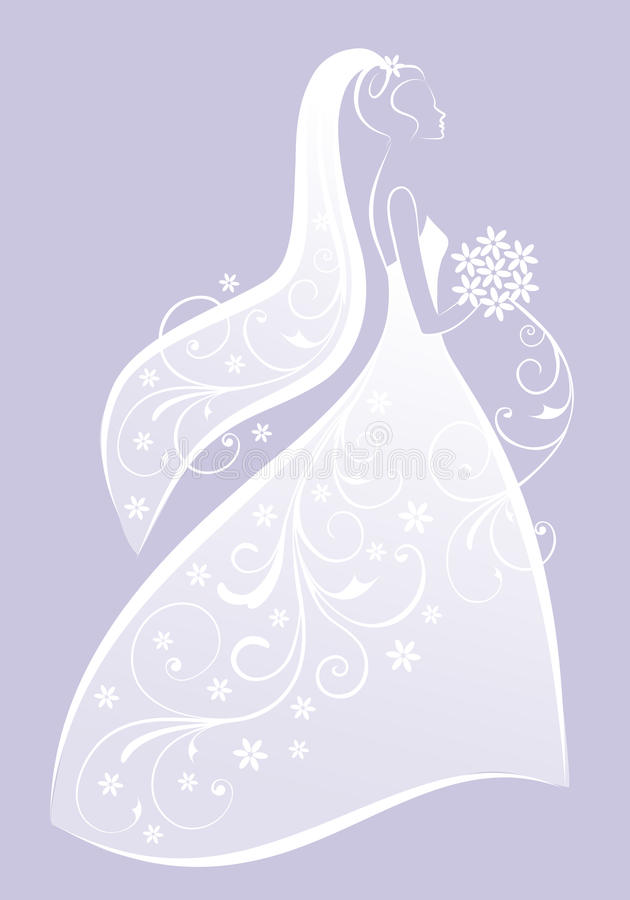 婚礼礼服的,传染媒介新娘 向量例证