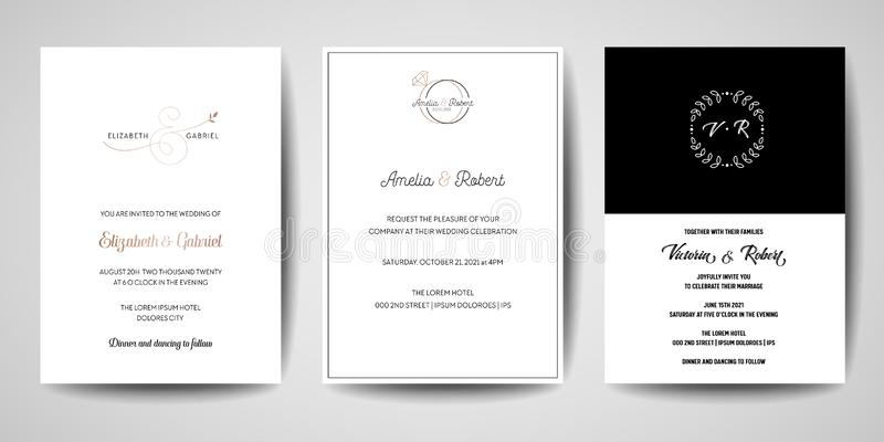 婚礼组合图案商标汇集,手拉的现代minimalistic和花卉模板邀请卡片,保存日期 皇族释放例证