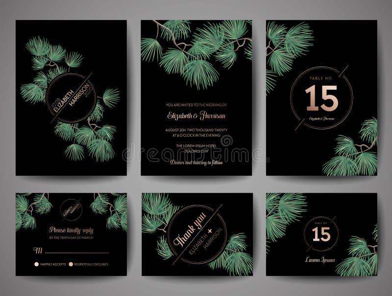 婚礼组合图案杉树邀请卡片,保存与金黄箔设计的日期模板 库存例证