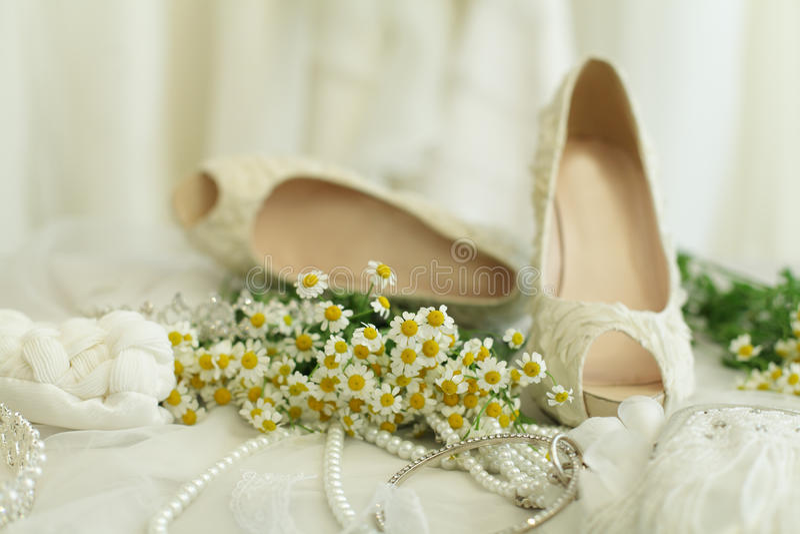 婚礼背景,新娘辅助部件 免版税库存照片