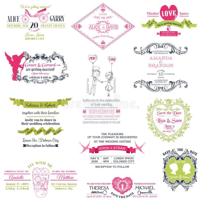 婚礼葡萄酒邀请汇集 向量例证