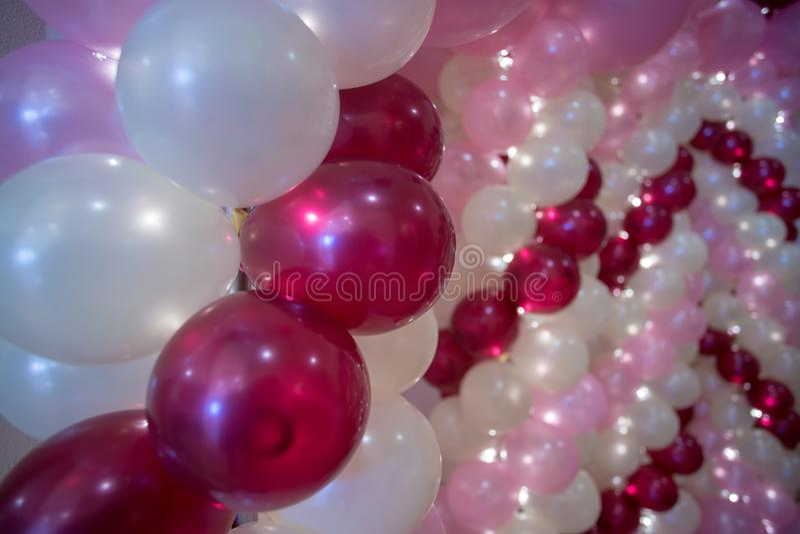 婚礼装饰,五颜六色的气球 图库摄影