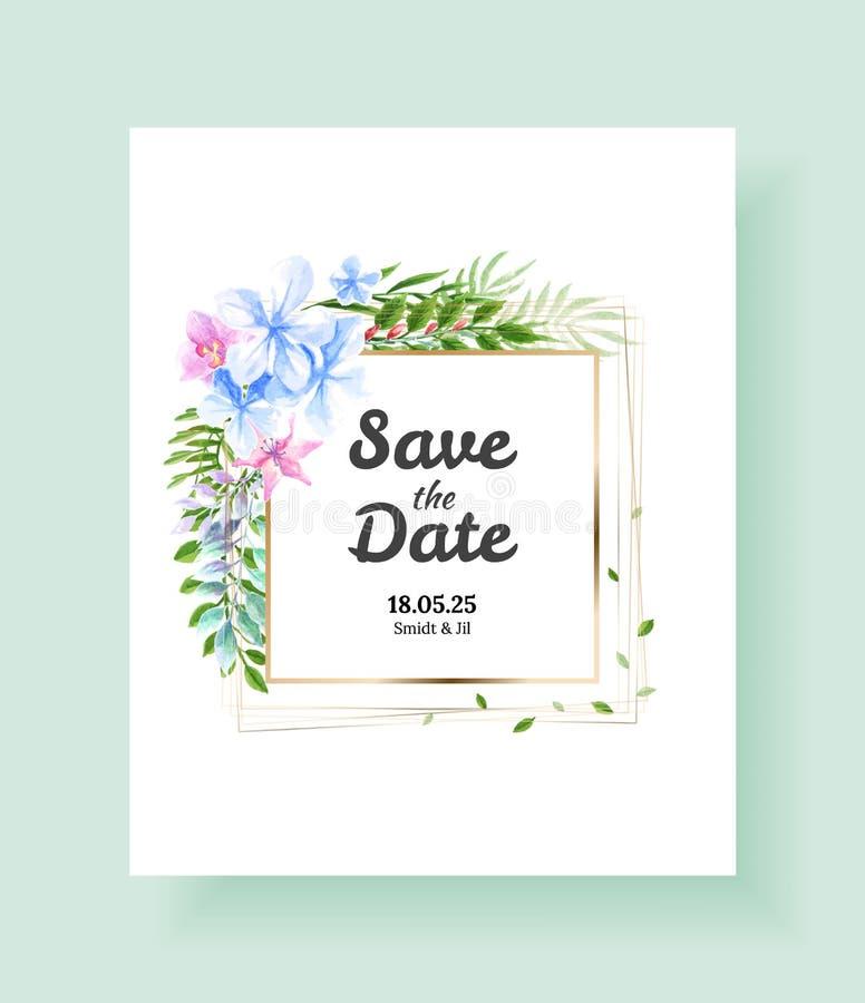 婚礼请帖,保存日期,谢谢,rsvp模板 传染媒介水彩花,百合,常春藤植物 库存例证