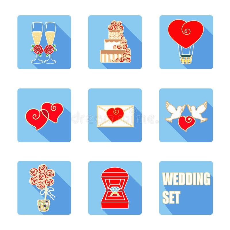 婚礼辅助部件 传染媒介平的象集合 库存照片