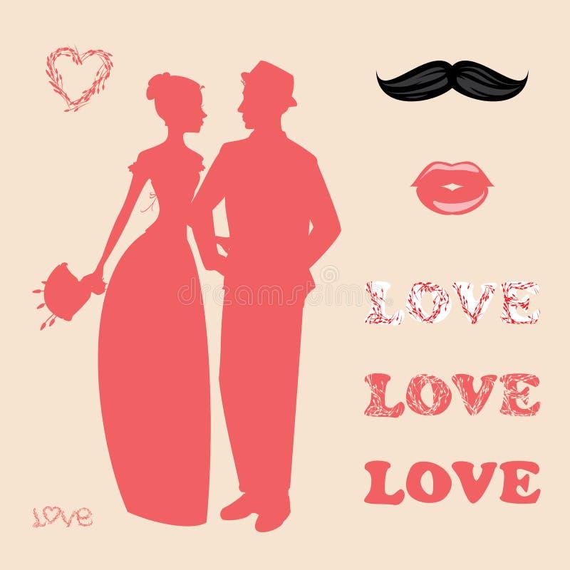 婚礼辅助部件和属性的汇集 免版税库存照片