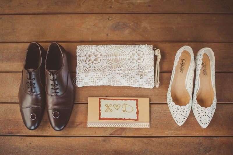 婚礼辅助部件,婚礼鞋子 库存图片