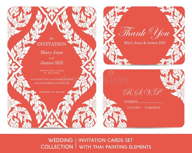 婚礼邀请与泰国绘画的卡集 库存例证
