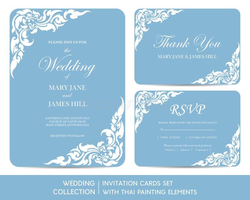 婚礼邀请与泰国绘画的卡集 向量例证