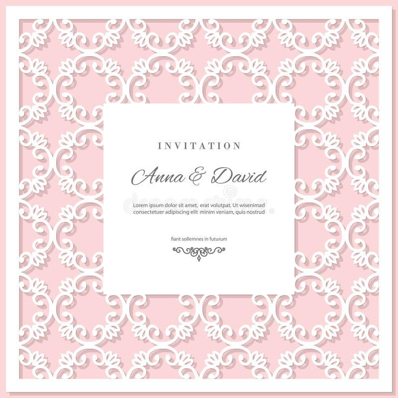 婚礼邀请与激光切口框架的卡片模板 粉红彩笔和白色颜色 皇族释放例证