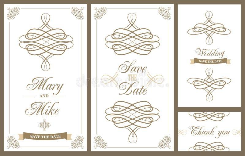 婚礼邀请与花卉和古色古香的装饰元素的葡萄酒卡片 库存例证