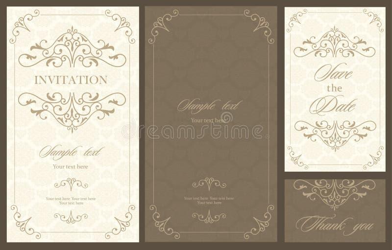 婚礼邀请与花卉葡萄酒卡片 库存例证