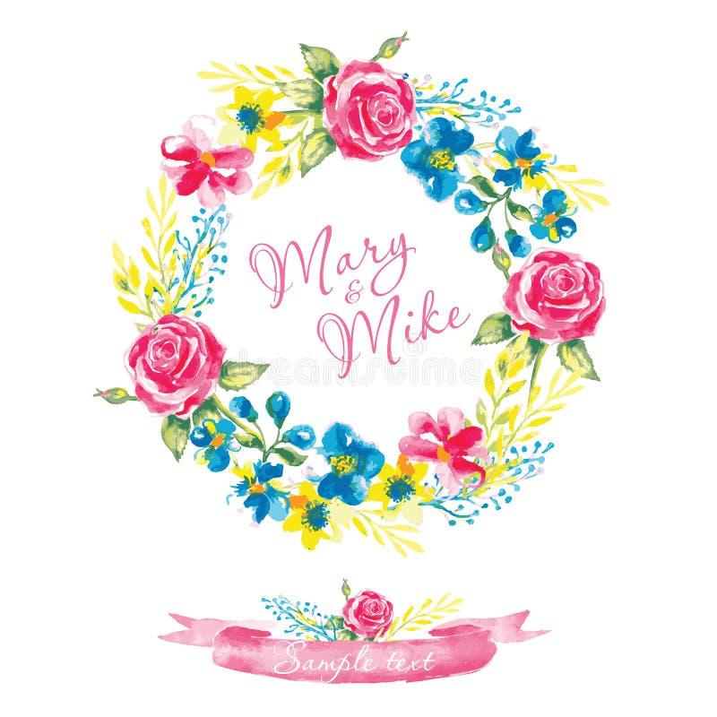 婚礼邀请与水彩元素的葡萄酒卡片 手绘画,柔和的花 也corel凹道例证向量 库存例证