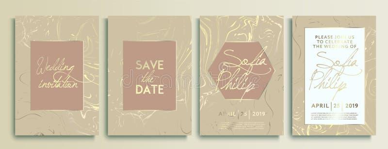 婚礼邀请卡片有大理石纹理背景和金几何线设计传染媒介 婚礼邀请框架集合 向量例证