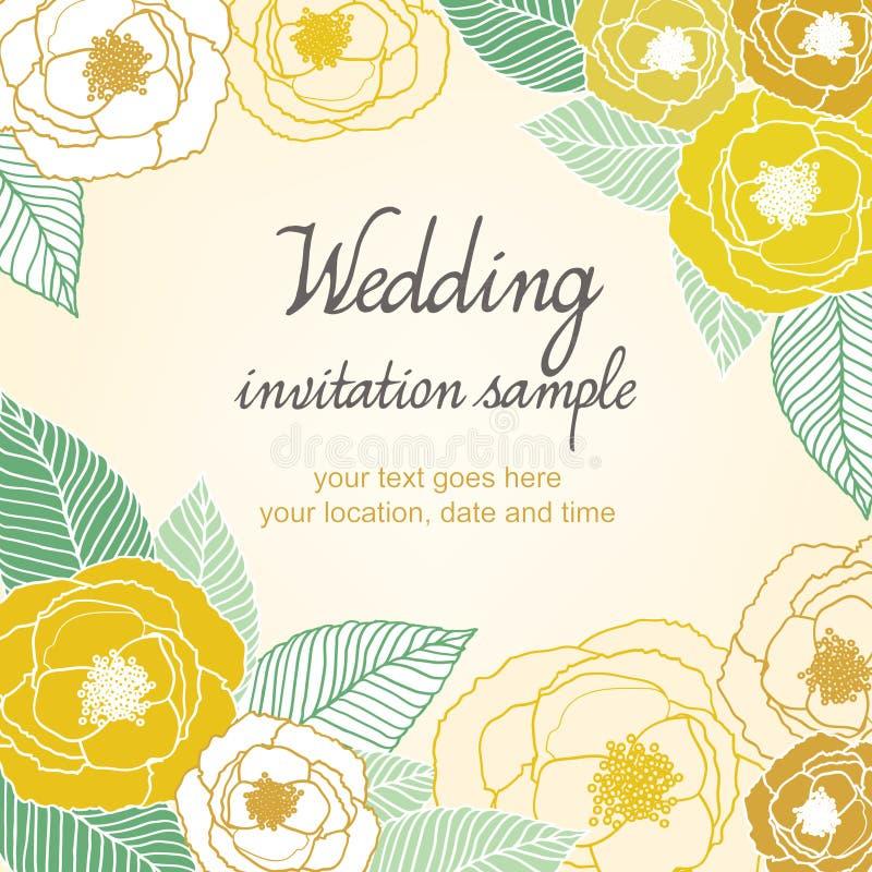 婚礼邀请卡片有抽象花卉背景 库存例证
