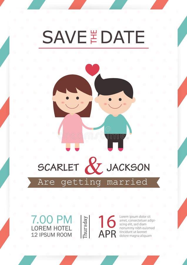 婚礼邀请卡片模板传染媒介例证,婚礼邀请卡片编辑可能与背景救球日期,字体, 皇族释放例证