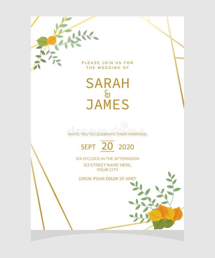 婚礼邀请卡片模板有铜颜色花花卉背景 背景高雅重点邀请浪漫符号温暖的婚礼 日期保存 向量Illustratio 库存例证