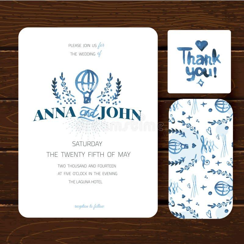 婚礼邀请卡片模板 与嫩花和叶子的手拉的水彩设计 库存例证