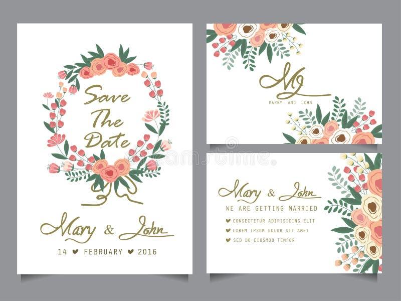 婚礼邀请卡片模板 皇族释放例证