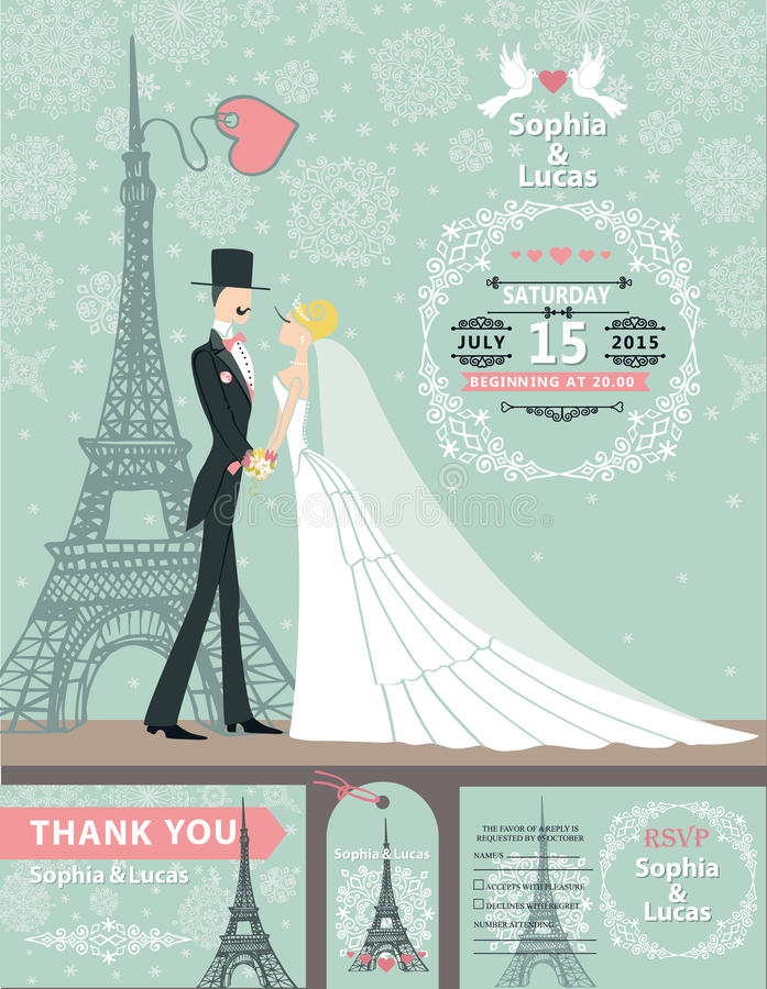 婚礼邀请卡片 新娘,新郎,巴黎冬天 向量例证