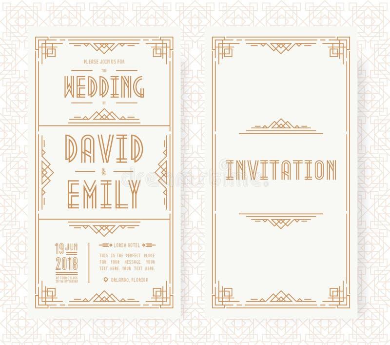 婚礼邀请卡集艺术装饰样式在白色背景的金子颜色与框架 库存图片