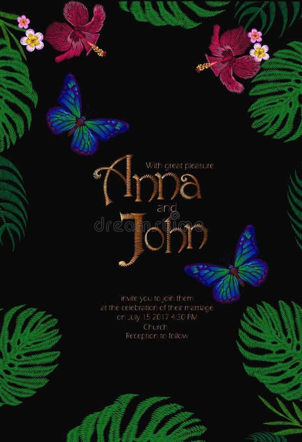 婚礼邀请救球日期模板卡片手拉的葡萄酒字法 花卉热带异乎寻常的蝴蝶Monstera 向量例证