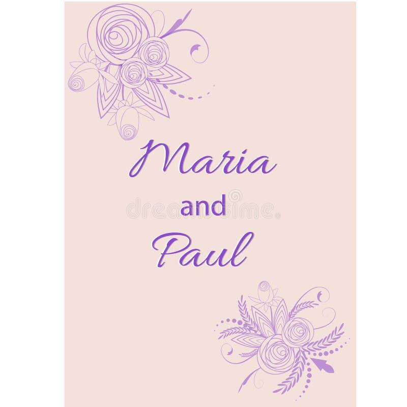婚礼邀请有花的卡片随员 设计传染媒介例证集合边界背景葡萄酒模板 向量例证