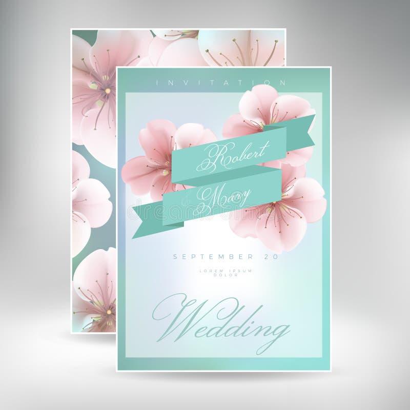 婚礼邀请有雏菊花模板的卡片随员 皇族释放例证