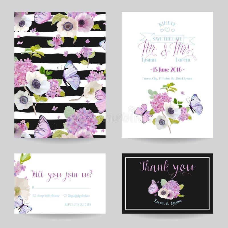 婚礼邀请模板集合 与八仙花属花和蝴蝶的植物的卡片 招呼花卉明信片 向量例证