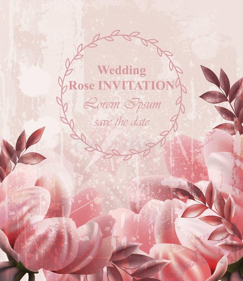 婚礼邀请葡萄酒开花传染媒介 墙纸花卉装饰秀丽春天夏天装饰 向量例证