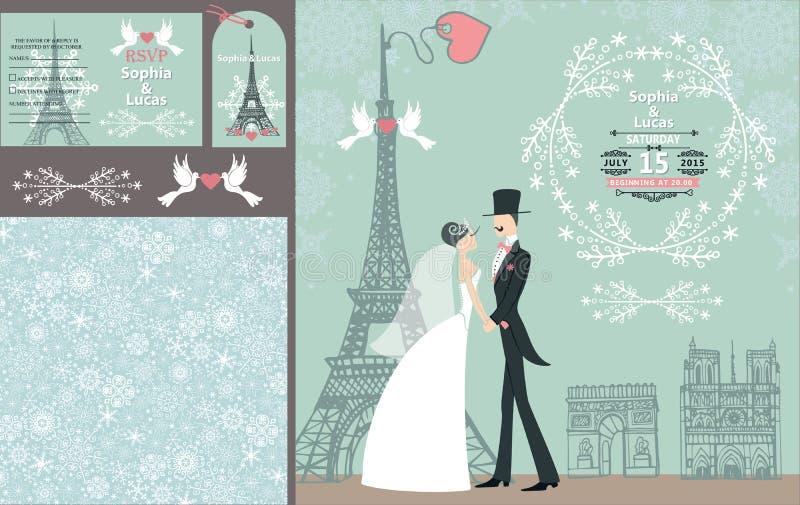 婚礼邀请集合 新娘,新郎 巴黎冬天 库存例证