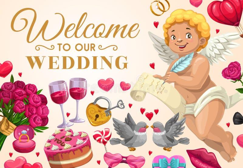 婚礼邀请,与爱消息的天使 向量例证