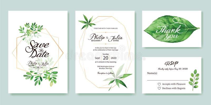 婚礼邀请,保存日期,谢谢, rsvp卡片设计模板 银元,橄榄色的叶子 叶子 向量 皇族释放例证