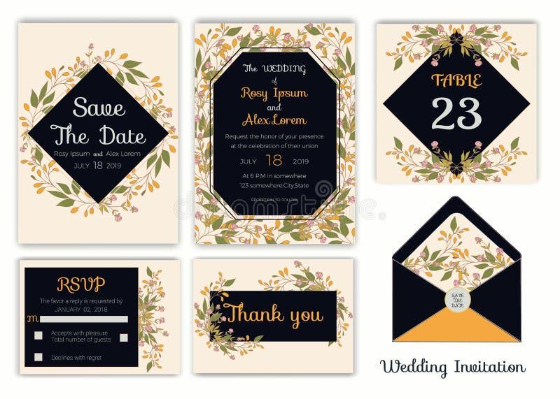 婚礼邀请,保存日期, RSVP卡片,谢谢拟订, T 向量例证